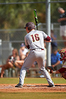 Central Michigan Chippewas left fielder Daniel Jipping (16) at bat during a game against the Boston College Eagles on March 8, 2016 at North Charlotte Regional Park in Port Charlotte, Florida.  Boston College defeated Central Michigan 9-3.  (Mike Janes/Four Seam Images)