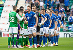 Hibs v St Johnstone….24.08.19      Easter Road     SPFL <br />Jason Kerr leads the team out before kick off<br />Picture by Graeme Hart. <br />Copyright Perthshire Picture Agency<br />Tel: 01738 623350  Mobile: 07990 594431