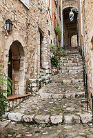 Rustic stone steps lead up the hill in the medieval village of St Paul de Vance, Provance, France