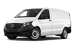 Stock pictures of low aggressive front three quarter view of 2020 Mercedes Benz eVito Base 4 Door Cargo Van Low Aggressive
