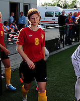 Vriendschappelijke interland vrouwenvoetbal : Belgium A - France A te Nieuwpoort ;..Lien Mermans..foto DAVID CATRY / Vrouwenteam.be