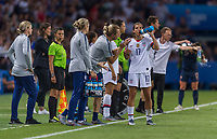 PARIS,  - JUNE 28: Tony Gustavsson talks to Tobin Heath #17 during a game between France and USWNT at Parc des Princes on June 28, 2019 in Paris, France.