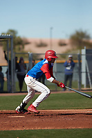 Alvie Castro (6) of Pasadena High School in Pasadena High School, California during the Baseball Factory All-America Pre-Season Tournament, powered by Under Armour, on January 14, 2018 at Sloan Park Complex in Mesa, Arizona.  (Freek Bouw/Four Seam Images)