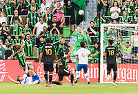 AUSTIN, TX - JUNE 19: Brad Stuver #41 of Austin FC knocks the ball away from the Austin goal during a game between San Jose Earthquakes and Austin FC at Q2 Stadium on June 19, 2021 in Austin, Texas.