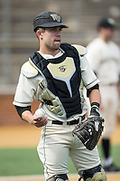 Wake Forest Demon Deacons catcher Logan Harvey (15) prior to the game against the Richmond Spiders at David F. Couch Ballpark on March 6, 2016 in Winston-Salem, North Carolina.  The Demon Deacons defeated the Spiders 17-4.  (Brian Westerholt/Four Seam Images)