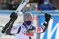 20th December 2020; Alta Badia, South-Tyrol, Italy; International Ski Federation World Cup Alpine Skiing, Giant Slalom;  Alexis Pinturault (FRA) celebrates after his run
