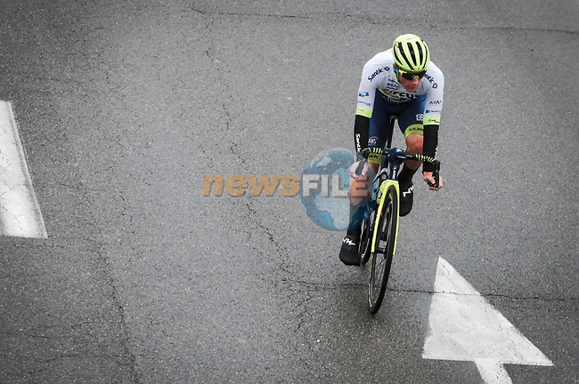 Tom Devriendt (BEL) Circus-Wanty Gobert Ecart out front during Stage 3 of the 78th edition of Paris-Nice 2020, running 212.5km from Chalette-sur-Loing to La Chatre, France. 10th March 2020.<br /> Picture: ASO/Fabien Boukla   Cyclefile<br /> All photos usage must carry mandatory copyright credit (© Cyclefile   ASO/Fabien Boukla)