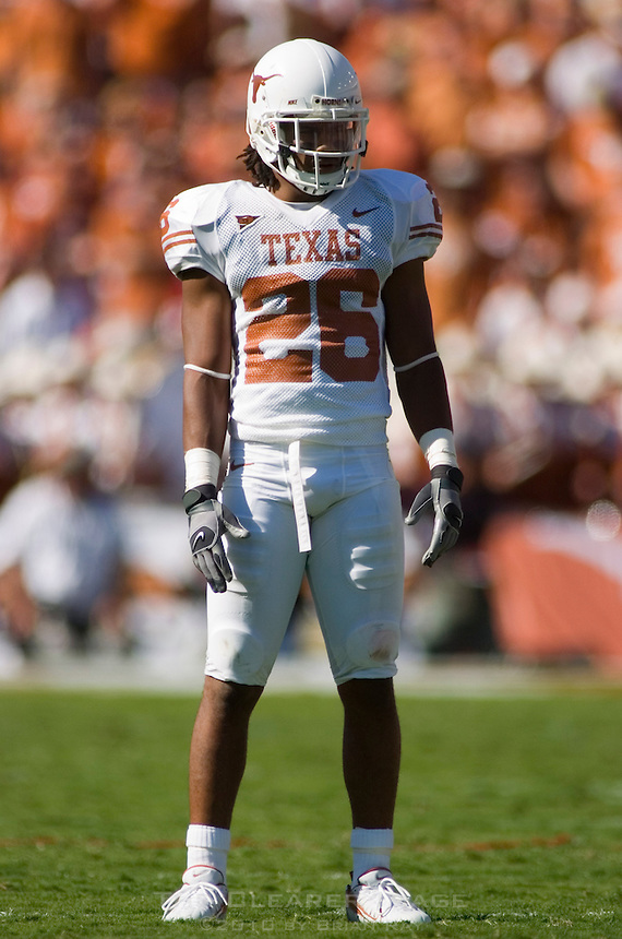 07 October 2006: Texas defender Marcus Griffin waits for some action during the Longhorns 28-10 victory over the University of Oklahoma Sooners at the Cotton Bowl in Dallas, TX.