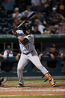 Yusniel Diaz (17) of the Norfolk Tides at bat against the Charlotte Knights at Truist Field on August 19, 2021 in Charlotte, North Carolina. (Brian Westerholt/Four Seam Images)