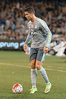 Melbourne, 24 July 2015 - Cristiano Ronaldo of Real Madrid dribbles the ball in game three of the International Champions Cup match between Manchester City and Real Madrid at the Melbourne Cricket Ground, Australia. Real Madrid def City 4-1. (Photo Sydney Low / AsteriskImages.com)