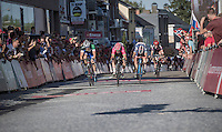 Luka Pibernik (SVN/Lampre-Merida) beats Mark Mcnally (GBR/Wanty-GroupeGobert) on the finish line<br /> <br /> 12th Eneco Tour 2016 (UCI World Tour)<br /> Stage 6: Riemst › Lanaken (185km)