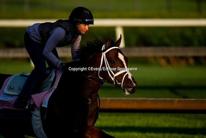 April 26, 2021: Moraz gallops in preparation for the Kentucky Oaks at Churchill Downs in Louisville, Kentucky on April 26, 2021. EversEclipse Sportswire/CSM