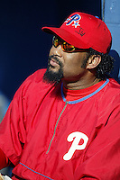 Jose Mesa of the Philadelphia Phillies before a 2002 MLB season game against the Los Angeles Dodgers at Dodger Stadium, in Los Angeles, California. (Larry Goren/Four Seam Images)