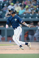 Third baseman Mark Vientos (13) of the Columbia Fireflies bats in a game against the Augusta GreenJackets on Saturday, June 1, 2019, at Segra Park in Columbia, South Carolina. Columbia won, 3-2. (Tom Priddy/Four Seam Images)