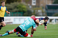 Harry Shephard of London Scottish is tackled by Cameron Jordan of Nottingham Rugby during the Championship Cup match between London Scottish Football Club and Nottingham Rugby at Richmond Athletic Ground, Richmond, United Kingdom on 28 September 2019. Photo by Carlton Myrie / PRiME Media Images