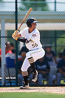 GCL Pirates first baseman Sam Kennelly (56) at bat during a game against the GCL Braves on August 10, 2016 at Pirate City in Bradenton, Florida.  GCL Braves defeated the GCL Pirates 5-1.  (Mike Janes/Four Seam Images)