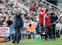 Rafa Benitez manager of Newcastle United issues instructions to his players during the Barclays Premier League match between Newcastle United and Swansea City played at St. James' Park, Newcastle upon Tyne, on the 16th April 2016