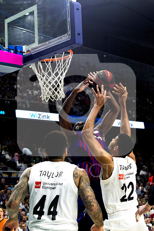 Barcelona's Chris Singleton, Real Madrid's Jeffery Taylor and Real Madrid's Walter Tavares during Liga Endesa match between Real Madrid and FC Barcelona Lassa at Wizink Center in Madrid, Spain. March 24, 2019.  (ALTERPHOTOS/Alconada)