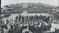 1967 FILE PHOTO - ARCHIVES -<br /> <br /> Thousands of VIPs; including Governor- and Prime Minister Lester Pearson; attended the cold and windy closing-day ceremony at Expo's Place des Nations where the official dais was appropriately banked with funereal flowers. A special ovation went to the Governor-General; who took pity on his shivering audience and laid aside his prepared speech. In view of the time and the temperature; he said; I shall ask your permission to file my words of wisdom in the archives of this great exhibiton; where they will rest unread through history. The fair closed at 4.30 p.m.<br /> <br /> 1967<br /> <br /> PHOTO : Boris Spremo - Toronto Star Archives - AQP