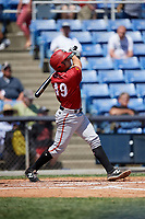Altoona Curve catcher Christian Kelley (49) follows through on a swing during a game against the Binghamton Rumble Ponies on June 14, 2018 at NYSEG Stadium in Binghamton, New York.  Altoona defeated Binghamton 9-2.  (Mike Janes/Four Seam Images)