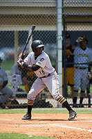 GCL Pirates first baseman Cristopher Perez (10) at bat during a game against the GCL Tigers West on July 17, 2017 at TigerTown in Lakeland, Florida.  GCL Tigers West defeated the GCL Pirates 7-4.  (Mike Janes/Four Seam Images)