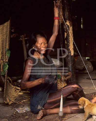Catete Village, Para State, Brazil; Xicrin Kayapo spinning cotton while a puppy watches.
