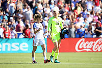 Cary, NC - Sunday October 22, 2017: McCall Zerboni and Jane Campbell prior to an International friendly match between the Women's National teams of the United States (USA) and South Korea (KOR) at Sahlen's Stadium at WakeMed Soccer Park. The U.S. won the game 6-0.