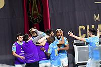 ATLANTA, GA - APRIL 27: Philadelphia Union players celebrate a goal by forward #23 Kacper Przybylko during a game between Philadelphia Union and Atlanta United FC at Mercedes-Benz Stadium on April 27, 2021 in Atlanta, Georgia.