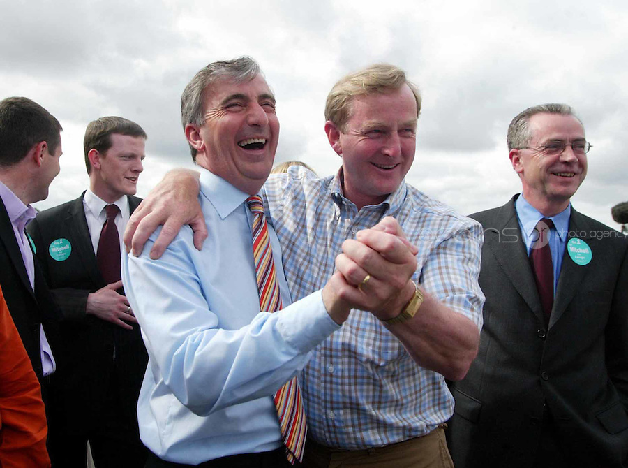 European Elections Fine Gael TD Gay Mitchell is greeted by Fine Gael leader Enda Kenny TD during the European election count at the RDS, Dublin. 13/6/2004 Photo: Gareth Chaney Collins