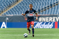 FOXBOROUGH, MA - MAY 12: Jake Rozhansky #32 of New England Revolution II brings the ball forward during a game between Union Omaha and New England Revolution II at Gillette Stadium on May 12, 2021 in Foxborough, Massachusetts.