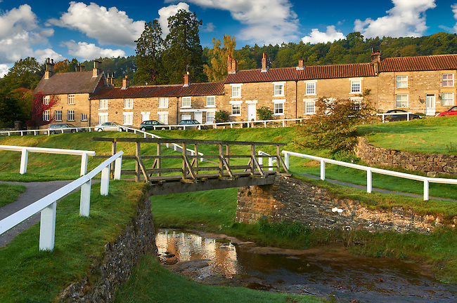 Traditional stone houses of Hutton Le Hole, North Yorks Moors National Park, Yorkshire, England