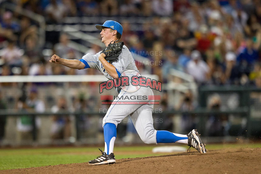 UCLA Bruins pitcher David Berg #26 pitches during Game 4 of the 2013 Men's College World Series between the LSU Tigers and UCLA Bruins at TD Ameritrade Park on June 16, 2013 in Omaha, Nebraska. The Bruins defeated the Tigers 2-1. (Brace Hemmelgarn/Four Seam Images)