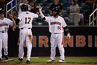 Aberdeen IronBirds Lenin Rodriguez (50) high fives Mason Janvrin (17) during a NY-Penn League game against the Vermont Lake Monsters on August 19, 2019 at Leidos Field at Ripken Stadium in Aberdeen, Maryland.  Aberdeen defeated Vermont 6-2.  (Mike Janes/Four Seam Images)