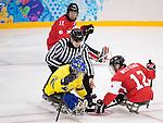 Greg Westlake, Sochi 2014 - Para Ice Hockey // Para-hockey sur glace.<br /> Team Canada takes on Sweden in Para Ice Hockey // Équipe Canada affronte la Suède en para-hockey sur glace. 08/03/2014.