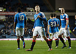 Andy Halliday celebrates to the Copland Road