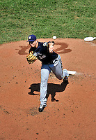 23 August 2009: Milwaukee Brewers' starting pitcher Manny Parra on the mound against the Washington Nationals at Nationals Park in Washington, DC. The Nationals defeated the Brewers 8-3 to take the third game of their four-game series, snapping a five games losing streak. Mandatory Credit: Ed Wolfstein Photo