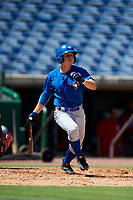 Toronto Blue Jays third baseman Addison Barger (8) follows through on a swing during a Florida Instructional League game against the Philadelphia Phillies on September 24, 2018 at Spectrum Field in Clearwater, Florida.  (Mike Janes/Four Seam Images)