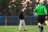 Western New York Flash head coach Aaran Lines. Sky Blue FC defeated the Western New York Flash 1-0 during a National Women's Soccer League (NWSL) match at Yurcak Field in Piscataway, NJ, on April 14, 2013.