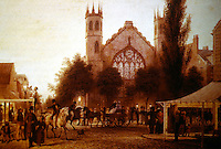 "New York:  Watercolor by  George Harvey, New York, 1837.  Broadway and Houston Street.  ""Night-Fall, St. Thomas's Church."""
