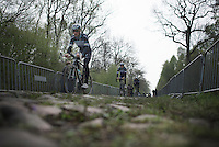Tom Boonen (BEL/OPQS) over the Trouée d'Arenberg cobbles<br /> <br /> 2014 Paris-Roubaix reconnaissance