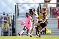 Eniola Aluko (18) of Sky Blue FC crosses the ball. The Western New York Flash defeated Sky Blue FC 2-0 during a Women's Professional Soccer (WPS) match at Yurcak Field in Piscataway, NJ, on July 17, 2011.