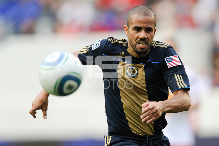 Fred (7) of the Philadelphia Union chases a ball played into space. The New York Red Bulls defeated the Philadelphia Union 2-1 during a Major League Soccer (MLS) match at Red Bull Arena in Harrison, NJ, on April 24, 2010.