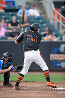 Ryan Ripken (58) of the Aberdeen IronBirds at bat against the Hudson Valley Renegades at Leidos Field at Ripken Stadium on July 27, 2017 in Aberdeen, Maryland.  The Renegades defeated the IronBirds 2-0 in game one of a double-header.  (Brian Westerholt/Four Seam Images)