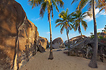 Virgin Gorda, British Virgin Islands in the  Caribbean<br /> Plam trees on the beach among the granite boulders at The Crawl in Spring Bay National Park