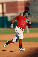 Delino DeShields #3 of the Lancaster JetHawks runs the bases during a game against the Rancho Cucamonga Quakes at The Hanger on August 25, 2013 in Lancaster, California. Lancaster defeated Rancho Cucamonga, 7-1. (Larry Goren/Four Seam Images)