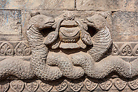 Bhaktapur, Nepal.  Decorative Snake Detail on one of the Guardians Lining the Stairway to the Nyatapola Temple.