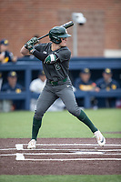 Michigan State Spartans shortstop Marty Bechina (2) at bat in the NCAA baseball game against the Michigan Wolverines on May 7, 2019 at Ray Fisher Stadium in Ann Arbor, Michigan. Michigan defeated Michigan State 7-0. (Andrew Woolley/Four Seam Images)