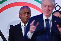 Washington, DC - January 20, 2020:  Rev. Al Sharpton listens as former U.S. President Bill Clinton speaks during a breakfast hosted by the National Action Network honoring the legacy of Dr. Martin Luther King, Jr on MLK Day January 20, 2020 at the Mayflower Hotel in Washington, DC.  (Photo by Don Baxter/Media Images International)
