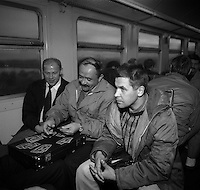 Chernobyl, Ukraine, Ocober 1995..The explosion at the Chernobyl Nuclear Power Plant on April 26 1986 was the worst nuclear accident in history..Chernobyl workers travel to the plant on a special train from their homes in the new town of Slavutich outside the radioactive zone.