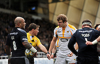 Photo: Richard Lee/Richard Lane Photography. Aviva Premiership. Newcastle Falcons v Wasps. 27/03/2016. Joe Launchbury of Wasps (2nd from right) appeals for a decision to the referee, JP Doyle.
